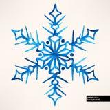 Waterverf hand-drawn sneeuwvlok Royalty-vrije Stock Afbeelding