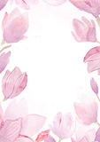 Waterverf hand het getrokken schilderen van magnoliakader Royalty-vrije Stock Fotografie