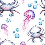 Waterverf Heldere Paterrn met Blauwe Koning Crabs en Kwallen en Bellen vector illustratie