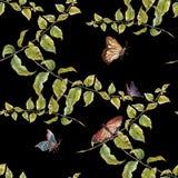 Waterverf het schilderen blad, vlinder, naadloos patroon op donkere achtergrond stock illustratie