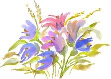 Waterverf het schilderen, boeket van de lentebloemen op een witte achtergrond stock illustratie