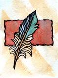 Waterverf het schilderen het schrijven pluim met rood document Royalty-vrije Stock Fotografie