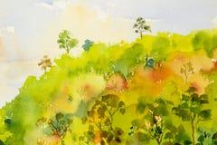 Waterverf het schilderen landschap kleurrijk van heuvelbergweide Royalty-vrije Stock Foto