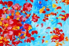 Waterverf het schilderen met roze bloemblaadjes, illustratie, achtergrond, w Stock Foto