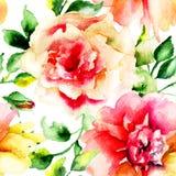 Waterverf het schilderen met Roze bloemen Stock Afbeelding