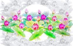 Waterverf het schilderen op document gelukkige prentbriefkaar kleurrijk van boerenkinkels Stock Foto