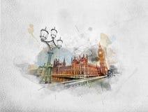 Waterverf het schilderen van Big Ben, Londen het UK stock foto