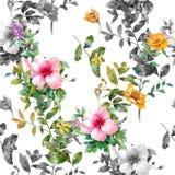 Waterverf het schilderen van blad en bloemen Stock Foto