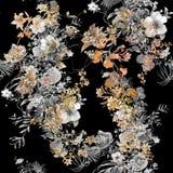 Waterverf het schilderen van blad en bloemen, naadloos patroon stock fotografie