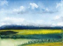 Waterverf het schilderen van de zomerlandschap met bergen, blauwe hemel, wolken, groene open plek Abstracte hand geschilderde ach Royalty-vrije Stock Afbeelding