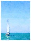 Waterverf het schilderen van een varende boot in het overzees met omhoog zeilen, royalty-vrije stock afbeeldingen