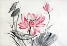 Waterverf het schilderen van grote lotusbloembloem Stock Foto's