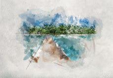 Waterverf het schilderen van houten pier in de Maldiven stock foto