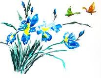 Waterverf het schilderen van irissen stock afbeeldingen