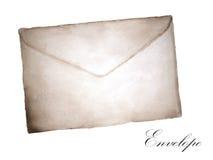Waterverf het schilderen van Oude envelop royalty-vrije illustratie