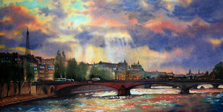 Waterverf het schilderen van Parijs Royalty-vrije Stock Afbeeldingen