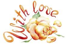 Waterverf het schilderen van roze knop en de tekst: Met liefde Stock Afbeelding
