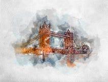 Waterverf het schilderen van Torenbrug in Londen stock foto's
