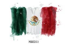 Waterverf het schilderen vlag van Mexico Vector stock illustratie