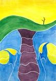 Waterverf het schilderen Wereldverwezenlijking Stock Afbeeldingen
