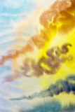 Waterverf het schilderen wolk, hemel kleurrijk van raincloud in lucht Royalty-vrije Stock Afbeelding