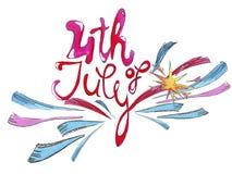 Waterverf het van letters voorzien, gelukwensen op Onafhankelijkheidsdag in Juli vector illustratie