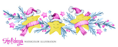 Waterverf horizontale slinger met beeldverhaalsterren in warme doeken, bladeren en bessen Nieuw jaar Vrolijke Kerstmis Royalty-vrije Stock Foto