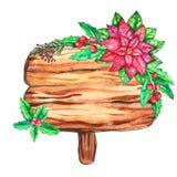 Waterverf houten die plakken op witte achtergrond worden geïsoleerd royalty-vrije illustratie