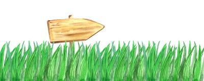 Waterverf houten teken in het gras vector illustratie