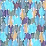 Waterverf ikat naadloos patroon Trillend etnisch ruitpatroon royalty-vrije stock afbeeldingen