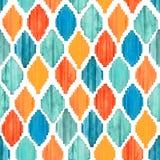 Waterverf ikat naadloos patroon Trillend etnisch ruitpatroon stock foto
