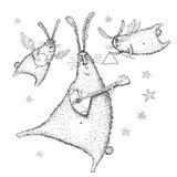 Waterverf illustratie, het Dansen en het zingen konijnen royalty-vrije illustratie