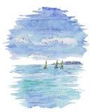 Waterverf kleurrijk landschap met boot die in het overzees varen, Stock Afbeeldingen