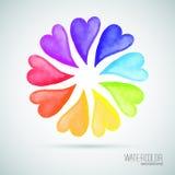 9 waterverf kleurrijke harten Vector illustratie Royalty-vrije Stock Afbeeldingen