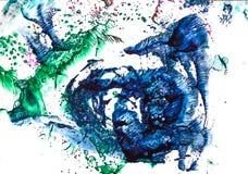 Waterverf kleurrijke plons Stock Afbeeldingen
