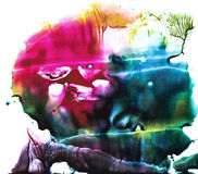 Waterverf kleurrijke plons Royalty-vrije Stock Afbeeldingen