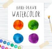 Waterverf kleurrijke ronde vlekken Aquarelle, borstels en beeld Royalty-vrije Stock Foto's