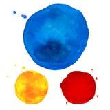 Waterverf kleurrijke ronde vlekken Watercolour het schilderen Stock Fotografie
