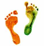 Waterverf kleurrijke voetafdruk stock illustratie