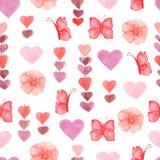 Waterverf leuk naadloos patroon met bloemen, harten en vlinders in roze, rode en violette kleuren royalty-vrije illustratie