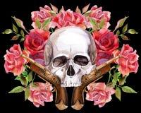Waterverf menselijke schedel Royalty-vrije Stock Foto's