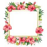 Waterverf met de hand geschilderde bloemenbanner in tropische stijl Stock Illustratie