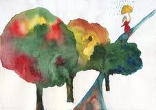 Waterverf met de herfstbomen en meisje Stock Afbeelding