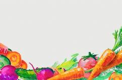 Waterverf met groentenillustratie die wordt geplaatst Royalty-vrije Stock Foto's