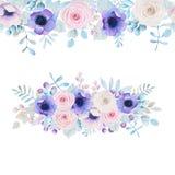 Waterverf met rozen en anemonen wordt geplaatst die Royalty-vrije Stock Afbeelding