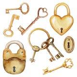 Waterverf met uitstekende sleutels en sloten wordt geplaatst dat royalty-vrije illustratie
