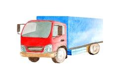 Waterverf middelgrote vrachtwagen met blauw lichaam en rode cabine op een witte geïsoleerde achtergrond vector illustratie