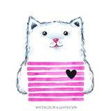 Waterverf moderne Pot in heldere slijtage Leuk dier Kat de illustratie van het kinderenbeeldverhaal Kan op T-shirts worden gedruk royalty-vrije illustratie