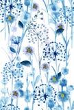 Waterverf monotoon in blauw wild bloemenpatroon, gevoelige bloem vector illustratie