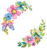Waterverf mooi bloemenontwerp met vlinders vector illustratie